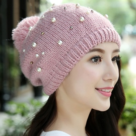 Ericdress Pearls Decorated Protective Ear Knitted Hat