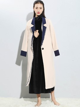 Ericdress Color Block Polo Coat