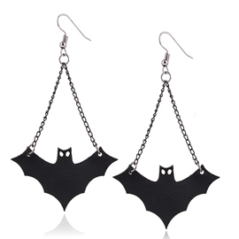 Ericdress Black Bat Pendant Earrings