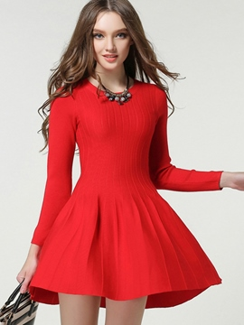 Ericdress Bud Strip Plain Pleated Sweater Dress