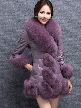 Ericdress Slim Faux Fur PU Patchwork Coat