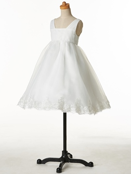 Ericdress Simple V Neck Appliques Cheap Ball Gown Flower Girl Dress