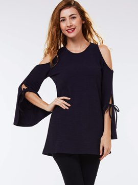 Ericdress Cold Shoulder Tie Detail T-Shirt