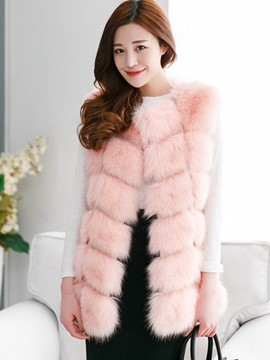 Ericdress Solid Color Faux Fur Jacket
