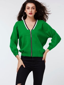 Ericdress Green V-Neck Zipper Knitwear