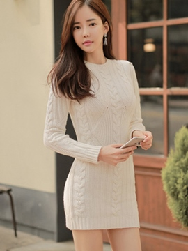Ericdress Knitting Weave Round Collar Bodycon Dress