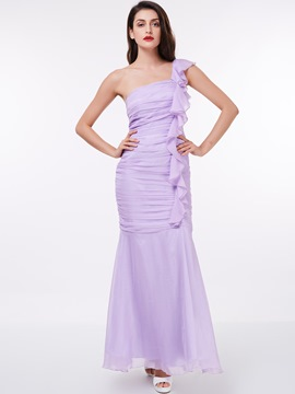 Ericdress One Shoulder Ruffles Pleats Sheath Evening Dress