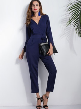Ericdress Solid Color Lace-Up Jumpsuits Pants