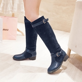 Ericdress Patchwork Square Heel Knee High Boots