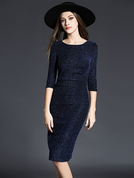 Ericdress Elegant Round Neck Three-Quarter Sleeve Sheath Dress