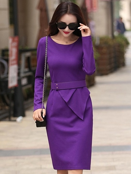 Ericdress Belt Wave Cut Patchwork Long Sleeve Sheath Dress