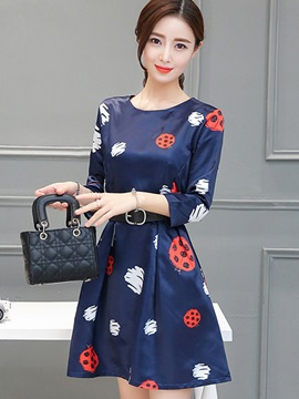 Ericdress Print Belt Pleated Patchwork Casual Dress
