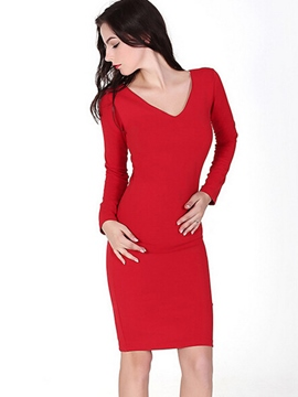 Ericdress V-Neck Solid Color Sheath Dress