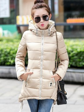Ericdress Slim Zipper Hooded Coat