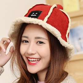 Ericdress Suede Smiling Face Applique Bucket Hat