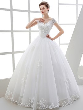 Ericdress Elegant V Neck Beaded Ball Gown Wedding Dress