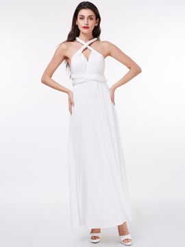 Ericdress Casual Halter Sashes White Evening Dress