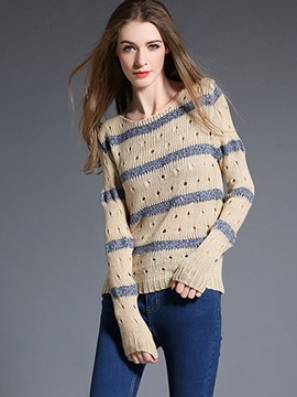 Ericdress Stripe Hollow Knitwear