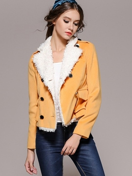 Ericdress Color Block Double-Breasted Fleece Jacket