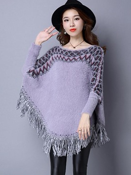 Ericdress Geometric Tassel Caped Knitwear