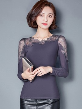 Ericdress Lace Patchwork Slim T-Shirt