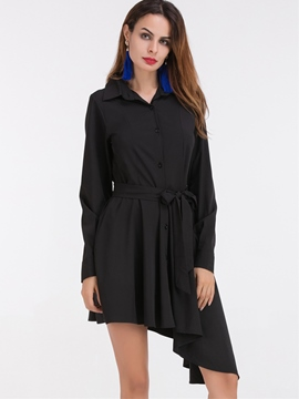 Ericdress Asymmetric Pleated Button Lace-Up Casual Dress