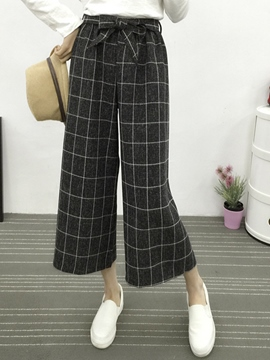 Ericdress Plaid Nine Points Pants