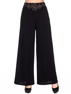 Ericdress Embroidery High-Waist Wide Legs Pants