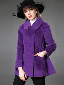 Ericdress Solid Color Loose Fleece Elegant Coat
