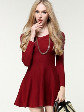 Ericdress Plain Pleated Zipper Sweater Dress