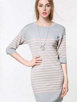 Ericdress Strip Patchwork Round Collar Three-Quarter Sleeve Sheath Dress