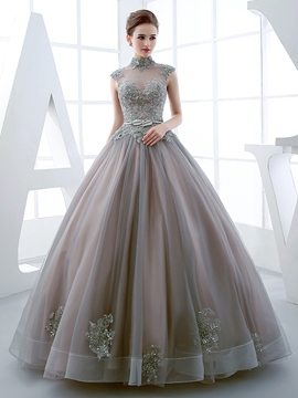 Ericdress High Neck Ball Gown Cap Sleeves Appliques Beading Quinceanera Dress