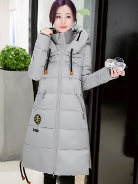 Ericdress Slim Solid Color Stand Collar Hooded Coat