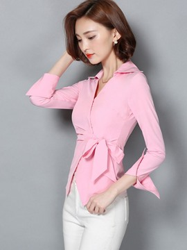 Ericdress Tie Bow Front OL Slim Blouse