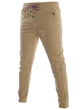 Ericdress Pleated Lace-Up Plain Slim Men's Pants
