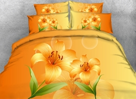Ericdress Orange Lily Flower Print 3D Bedding Sets