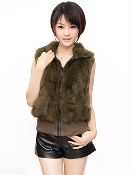Ericdress Solid Color Loose Faux Fur Jacket