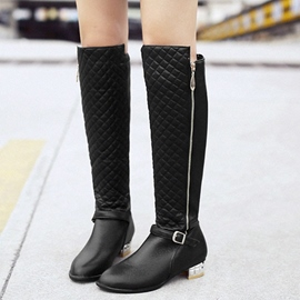 Ericdress Patchwork Side Zip Knee High Boots