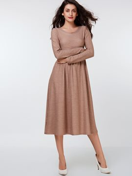 Ericdress Simple Round Neck Pleated Casual Dress