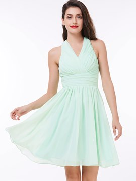 Ericdress Short A Line Halter Chiffon Pleats Prom Party Dress