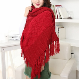 Ericdress Knitting Warm Tassels Shawl