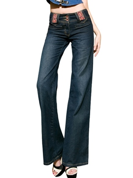 Ericdress Fashion Solid Color Wide Legs Jeans