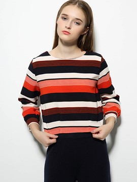 Ericdress Stripe Zipper Back T-Shirt