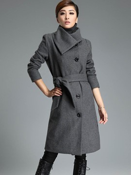 Ericdress Solid Color Turn-Down Belt Slim Coat