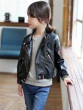 Ericdress Solid Color Zipper Locomotive Girls Jacket