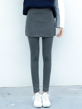 Ericdress Simple Thick Double-Layer Leggings Pants