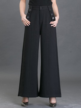 Ericdress Simple Pocket Wide Legs Pants