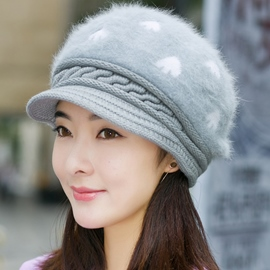 Ericdress Heart Pattern Design Rabbit Hair Knitted Hat