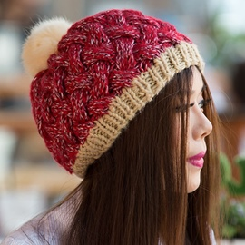Ericdress Winter Handmade Knitted Pompon Hat