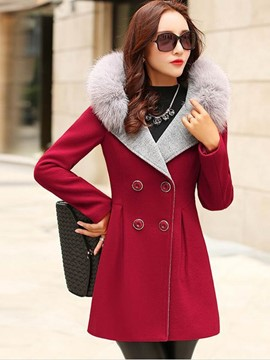 Ericdress Color Block Faux Fur Collar Hooded Slim Coat